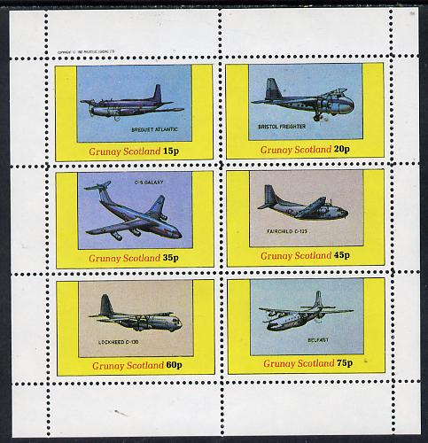 Grunay 1982 Aircraft #1 (Breguet Atlantic, Belfast, C-5 Galaxy etc) perf set of 6 values (15p to 75p) unmounted mint