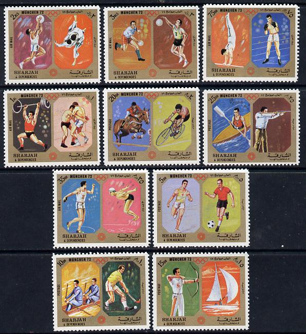 Sharjah 1972 Munich Olympic Sports perf set of 10 unmounted mint, Mi 942-51A