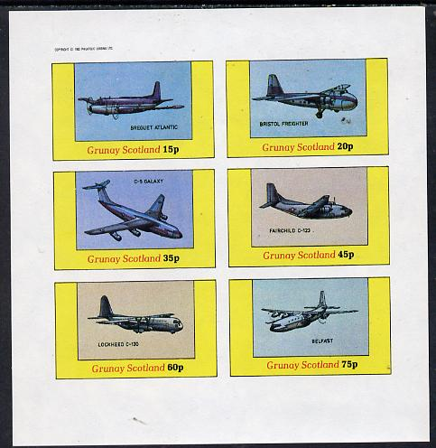 Grunay 1982 Aircraft #1 (Breguet Atlantic, Belfast, C-5 Galaxy etc) imperf set of 6 values (15p to 75p) unmounted mint