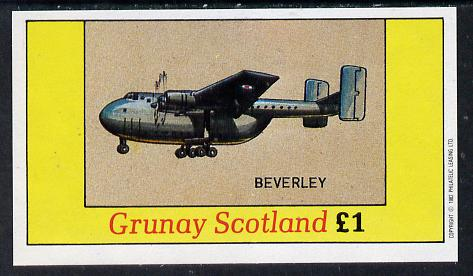 Grunay 1982 Aircraft #1 (Beverley) imperf souvenir sheet (�1 value) unmounted mint