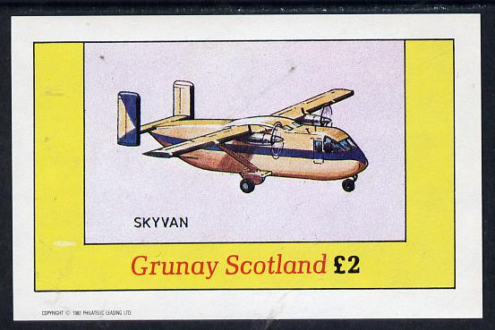 Grunay 1982 Aircraft #1 (Skyvan) imperf deluxe sheet (�2 value) unmounted mint