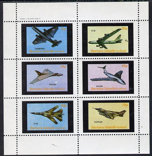Bernera 1982 Aircraft #13 (Canberra, B-52, Vulcan, F-111 etc) perf set of 6 values (15p to 75p) unmounted mint