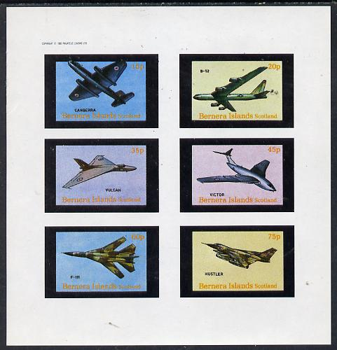 Bernera 1982 Aircraft #13 (Canberra, B-52, Vulcan, F-111 etc) imperf set of 6 values (15p to 75p) unmounted mint