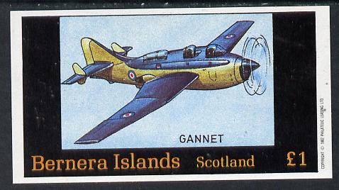 Bernera 1982 Aircraft #13 (Gannet) imperf souvenir sheet (�1 value) unmounted mint
