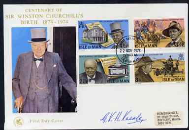 Isle of Man 1974 Churchill Centenary perf set of 4 on illustrated cover with first day cancel signed by G V H Kneale, the designer of the stamps