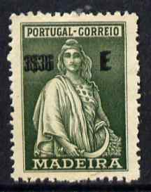 Portugal - Madeira 1928 Ceres 3E35 value printed double without gum (possibly a proof) SG166var