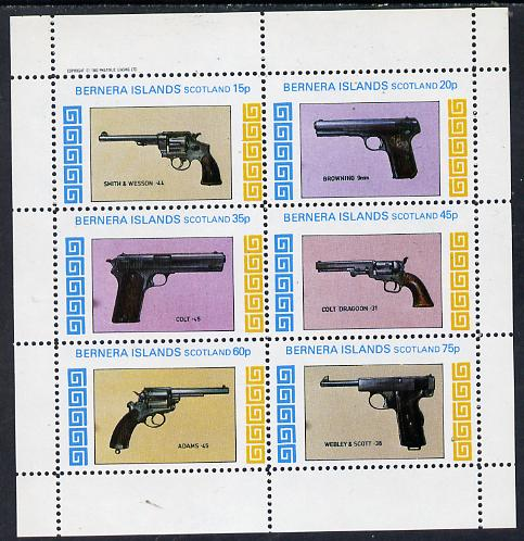 Bernera 1982 Pistols (Smith & Wesson, Colt 45, Browning, etc) perf set of 6 values (15p to 75p) unmounted mint