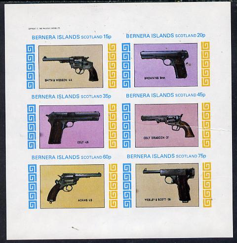 Bernera 1982 Pistols (Smith & Wesson, Colt 45, Browning, etc) imperf set of 6 values (15p to 75p) unmounted mint