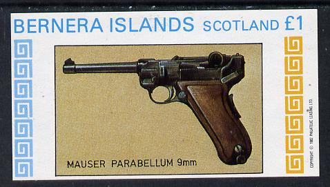 Bernera 1982 Pistols (Mauser 9mm) imperf souvenir sheet (�1 value) unmounted mint