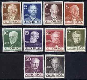 Germany - West Berlin 1952-53 Famous Berliners perf set of 10 unmounted mint, SG B91-100 cat \A3160