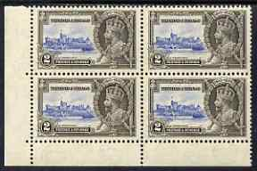 Trinidad & Tobago 1935 Silver Jubilee 2c corner block of 4, one stamp with \D4Extra Flagstaff\D5 variety, unmounted mint but slight signs of toning not visible from the front, SG239a