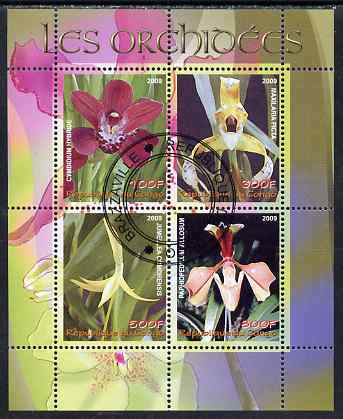 Congo 2009 Orchids perf sheetlet containing 4 values fine cto used