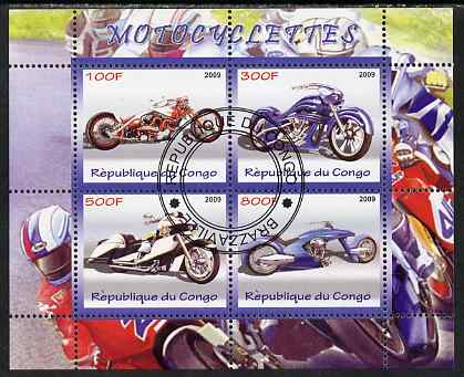 Congo 2009 Motorcycles perf sheetlet containing 4 values fine cto used