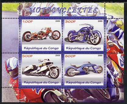 Congo 2009 Motorcycles perf sheetlet containing 4 values unmounted mint