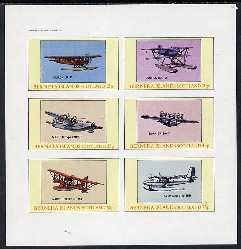 Bernera 1982 Seaplanes (Fairchild 71, Short Empire, Dornier DO-X etc) imperf set of 6 values (15p to 75p) unmounted mint