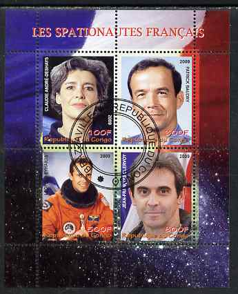 Congo 2009 French Astronauts #1 perf sheetlet containing 4 values fine cto used