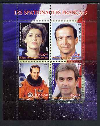 Congo 2009 French Astronauts #1 perf sheetlet containing 4 values unmounted mint