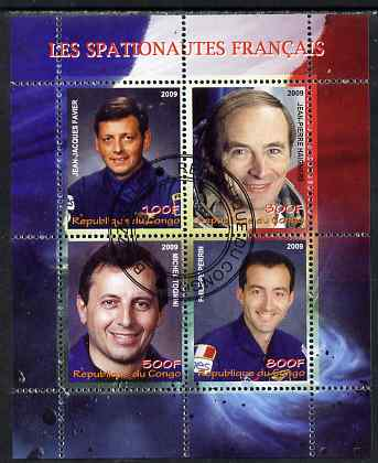 Congo 2009 French Astronauts #2 perf sheetlet containing 4 values fine cto used