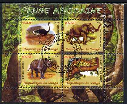 Congo 2009 African Fauna perf sheetlet containing 4 values fine cto used