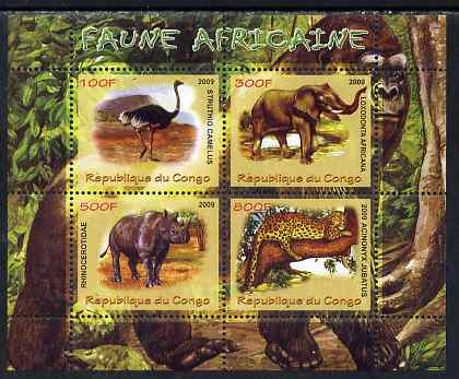 Congo 2009 African Fauna perf sheetlet containing 4 values unmounted mint