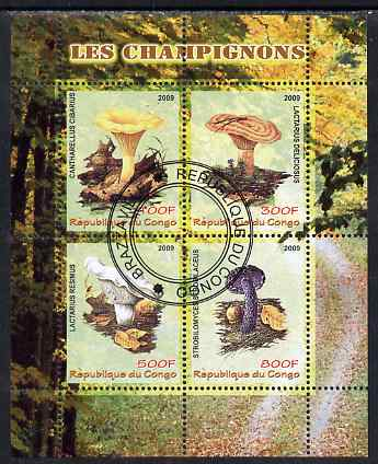 Congo 2009 Mushrooms perf sheetlet containing 4 values fine cto used