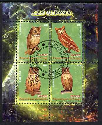 Congo 2009 Owls perf sheetlet containing 4 values fine cto used