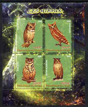 Congo 2009 Owls perf sheetlet containing 4 values unmounted mint