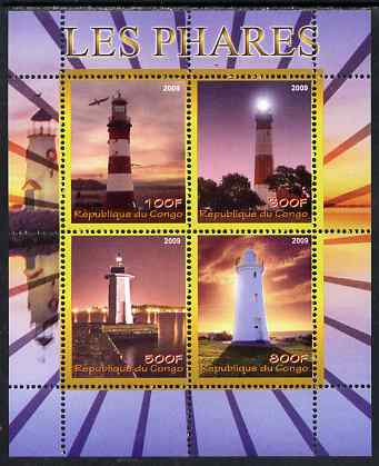 Congo 2009 Lighthouses perf sheetlet containing 4 values unmounted mint