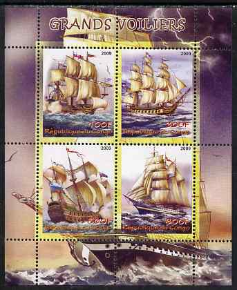 Congo 2009 Tall Ships perf sheetlet containing 4 values unmounted mint