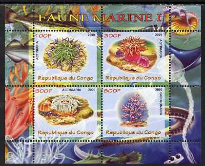 Congo 2009 Sea Life #1 perf sheetlet containing 4 values unmounted mint