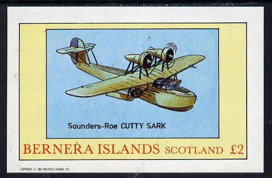 Bernera 1982 Seaplanes (Cutty Sark) imperf deluxe sheet (�2 value) unmounted mint