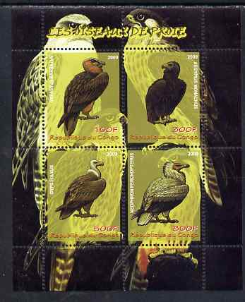 Congo 2009 Birds of Prey perf sheetlet containing 4 values unmounted mint