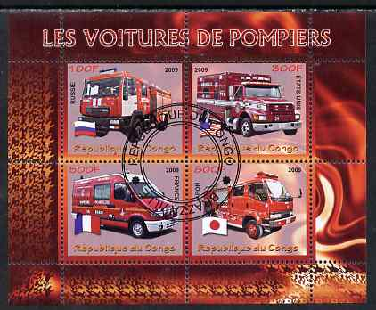 Congo 2009 Fire Engines perf sheetlet containing 4 values fine cto used