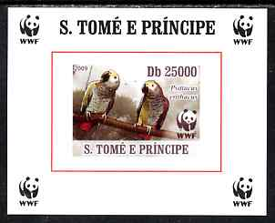 St Thomas & Prince Islands 2009 WWF - African Grey Parrot #1 individual imperf deluxe sheet unmounted mint. Note this item is privately produced and is offered purely on its thematic appeal
