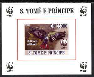 St Thomas & Prince Islands 2009 WWF - African Grey Parrot #3 individual imperf deluxe sheet unmounted mint. Note this item is privately produced and is offered purely on its thematic appeal