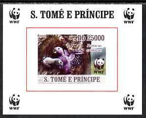 St Thomas & Prince Islands 2009 WWF - African Grey Parrot #4 individual imperf deluxe sheet unmounted mint. Note this item is privately produced and is offered purely on its thematic appeal
