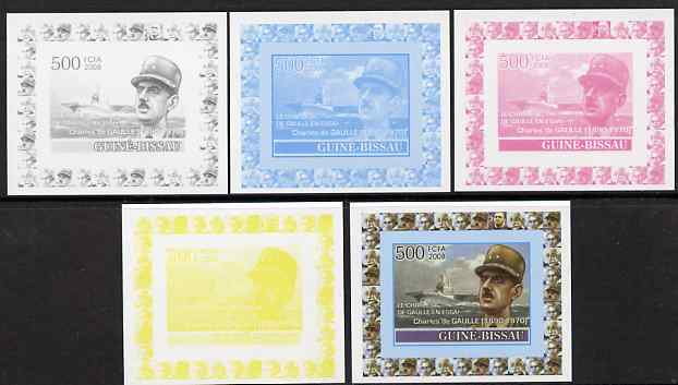 Guinea - Bissau 2008 Charles de Gaulle 500f individual deluxe sheet - the set of 5 imperf progressive proofs comprising the 4 individual colours plus all 4-colour composite, unmounted mint, stamps on personalities, stamps on de gaulle, stamps on  ww1 , stamps on  ww2 , stamps on militaria, stamps on flat tops, stamps on ships, stamps on personalities, stamps on de gaulle, stamps on  ww1 , stamps on  ww2 , stamps on militaria