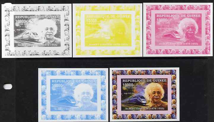 Guinea - Conakry 2006 Albert Einstein individual deluxe sheet #2 with TGV Train - the set of 5 imperf progressive proofs comprising the 4 individual colours plus all 4-colour composite, unmounted mint