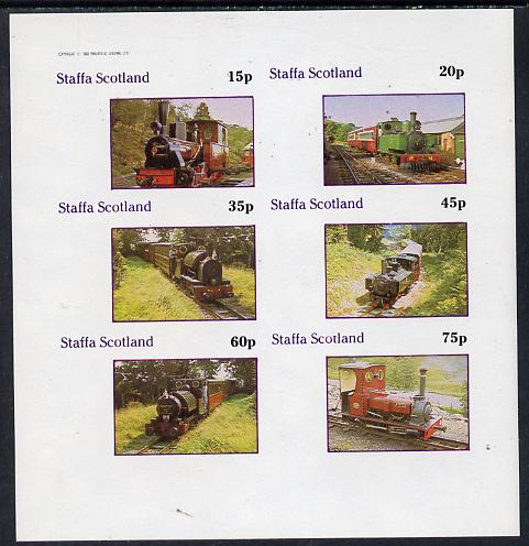Staffa 1982 Narrow Gauge Steam Locos imperf  set of 4 values (15p to 75p) unmounted mint