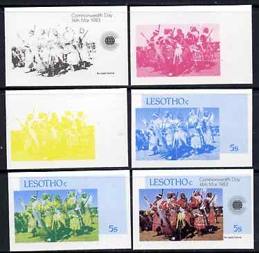 Lesotho 1983 Ba-Leseli Dance 5s (from Commonwealth Day set) the set of 6 imperf progressive proofs comprising the 4 individual colours plus 2 and all 4-colour composite, unmounted mint, only 36 such sets believed to exist, as SG536