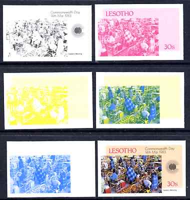 Lesotho 1983 Tapestry Weaving 30s (from Commonwealth Day set) the set of 6 imperf progressive proofs comprising the 4 individual colours plus 2 and all 4-colour composite, unmounted mint, only 36 such sets believed to exist, as SG536