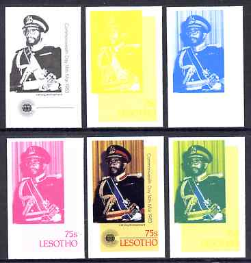 Lesotho 1983 King Moshoeshoe 75s (from Commonwealth Day set) the set of 6 imperf progressive proofs comprising the 4 individual colours plus 2 and all 4-colour composite, unmounted mint, only 36 such sets believed to exist, as SG536