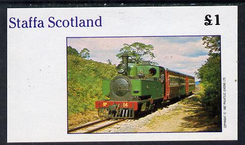 Staffa 1982 Narrow Gauge Steam Locos imperf souvenir sheet (�1 value) unmounted mint