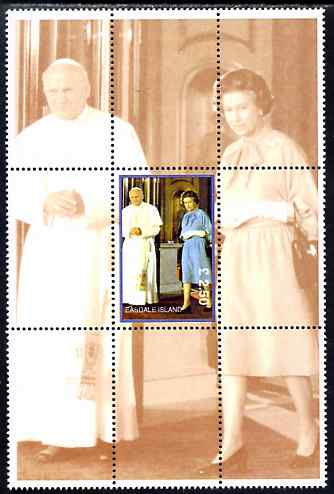 Easdale 1998 Queen Elizabeth with the Pope, \A32.50 perf souvenir sheet (perforated as a block of 9 with one stamp & 8 labels) unmounted mint