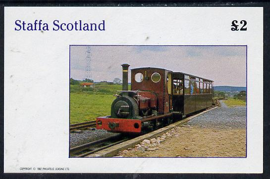 Staffa 1982 Narrow Gauge Steam Locos imperf deluxe sheet (�2 value) unmounted mint