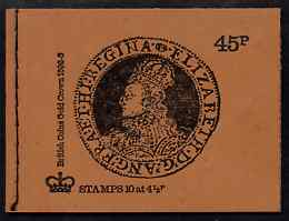 Booklet - Great Britain 1973-74 British Coins #3 - Elizabeth Gold Crown 45p booklet (Dec 1974 orange-brown cover) complete and fine, SG DS2a