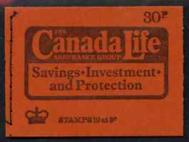 Booklet - Great Britain 1974 Canada Life (June 1974) 30p booklet complete and fine, SG DQ74