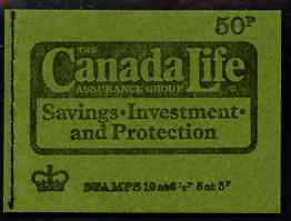Booklet - Great Britain 1973-74 Canada Life (March 1974) 50p booklet complete and fine, SG DT14