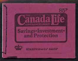 Booklet - Great Britain 1974 Canada Life 85p booklet dated Sept 1974 complete and fine SG DW1