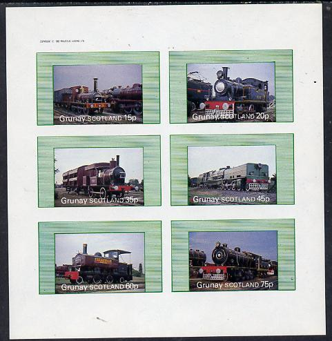 Grunay 1982 Steam Locos #01 imperf set of 6 values (15p to 75p) unmounted mint, stamps on railways